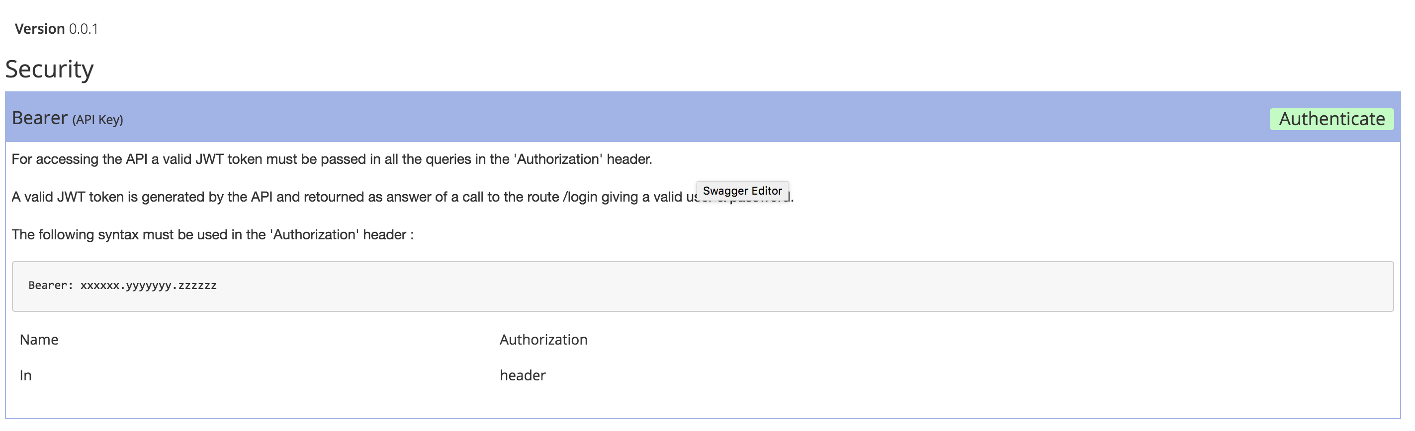 Use Authorization Header with Swagger